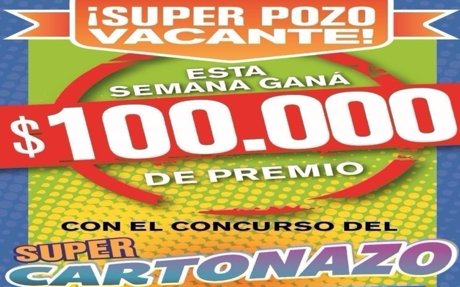 El Cartonazo quedó vacante y se formó un pozo por $100 mil